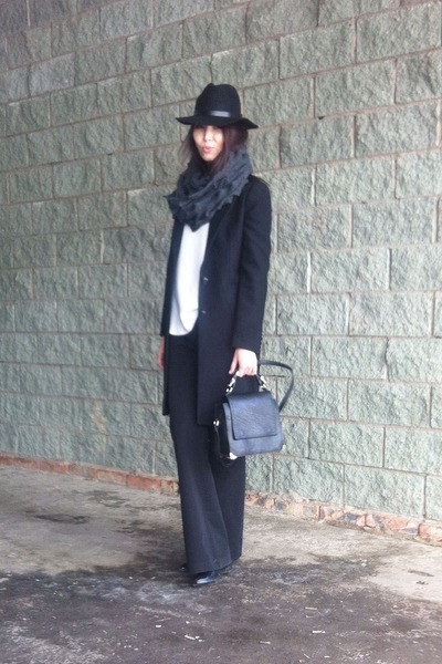 black coat - black H&M hat - gray scarf - black Zara bag - white jumper