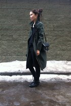black boots - dark green coat - black bag - black panties