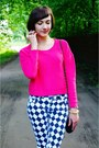 Hot-pink-h-m-sweater-black-zara-heels