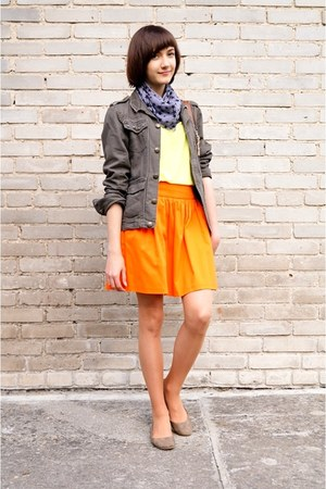 orange Zara skirt - tawny H&M bag