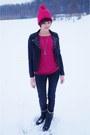 Black-house-jacket-hot-pink-adidas-accessories-black-stradivarius-pants