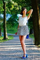 blue Bershka bra - black Choies skirt - white GINA TRICOT blouse