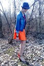 Blue-reserved-hat-blue-jeans-house-jacket-carrot-orange-zara-skirt