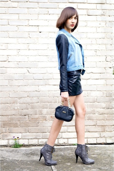 gray  boots - blue Sinsay jacket - black H&M skirt