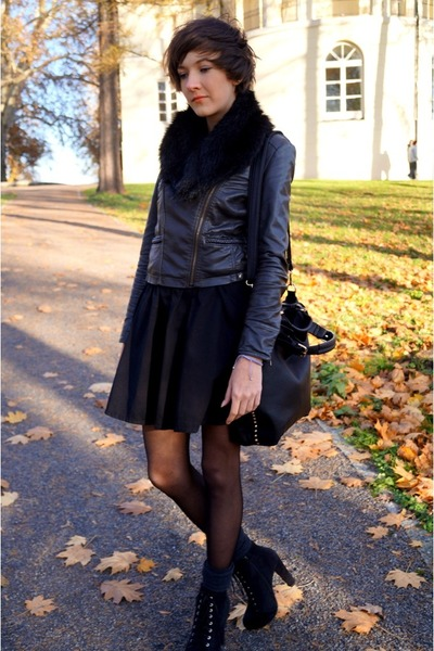 black leather  bag - dark gray New Yorker jacket - black SH  H&M skirt