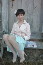 nude nude pink Mohito jacket - aquamarine mint skirt - neutral pumps