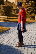 ruby red SH sweater - navy Mango skirt