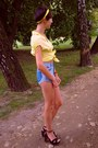 Yellow-diy-scarf-blue-diy-shorts-black-stradivarius-sandals