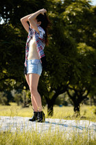 black laced up Schu boots - periwinkle faded denim Macys Grane shorts - beige ta