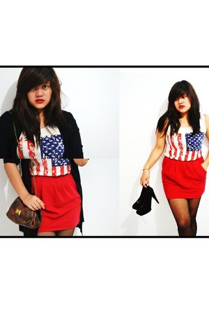 red Forever 21 skirt - dark brown Zara bag - white Greenhills top