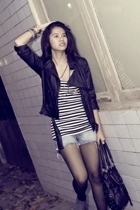 black Zara jacket - gray Zara boots - black Zara accessories
