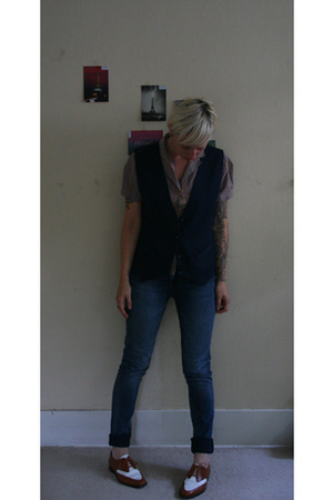 thrifted blouse - thrifted vest - Nudie Jeans jeans - keneth cole shoes