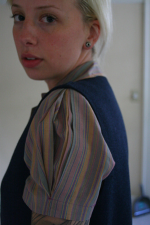 thrifted blouse - thrifted express vest