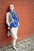 ivory jacket - navy blouse - ivory pants