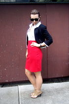 H&M blouse - H&M jacket - American Apparel skirt - Spring shoes