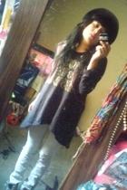 Bershka jeans - Secondhand hat - Zara blouse - blouse - blouse - Converse shoes