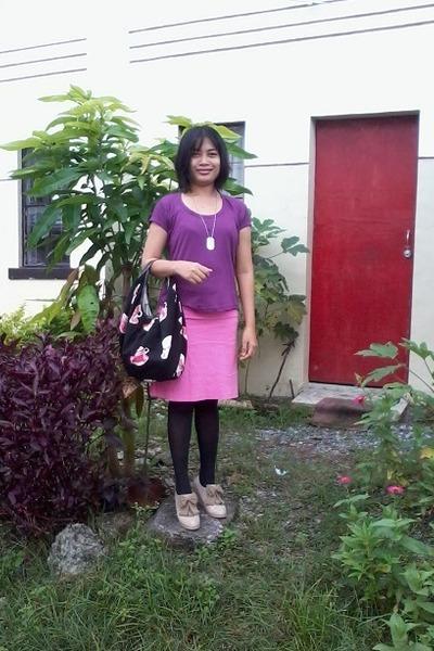 purple Zalora blouse - Zalora bag