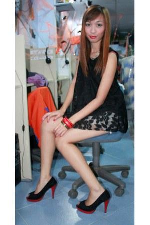 red silver bracelet - black lace dress dress - necklace