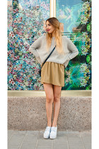 heather gray cropped DATU sweater - dark khaki mini skirt DATU skirt