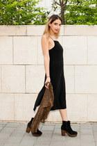 black lbd Topshop dress - brown platforms Topshop boots