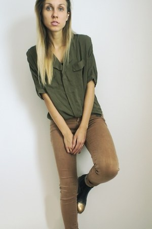 black UO DIY boots - bronze Urban Outfitters jeans