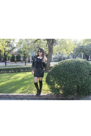 Dr Martens boots - leather jacket - Forever 21 shirt