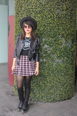 vegan leather Nasty Gal jacket - Dr Martens boots - boots - skirt