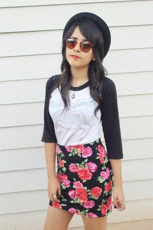 Forever 21 skirt - Forever 21 hat - rolling stones shirt