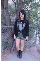 black spiked blazer - military Steve Madden boots - military shorts