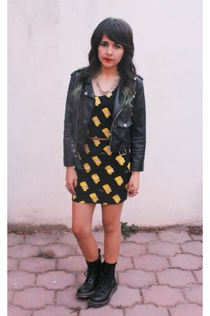 bart simpson skirt - Dr Martens boots - leather Nasty Gal jacket