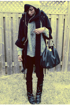 black coat - gray sweater - black leggings