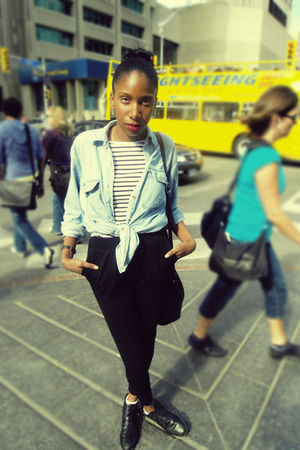 blue thrifted shirt - white H&M shirt - black SMLStyle leggings