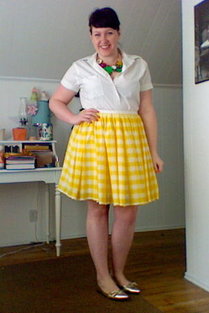 yellow homemade shirt - white thrift blouse - gold Classified shoes - green Fore