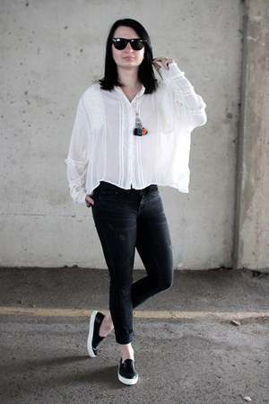 off white H&M blouse - black Topshop shoes - black vince jeans
