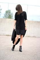Zara boots - Zara dress - H&M Trend sweatshirt