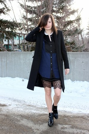 black Zara boots - black Zara dress - black Zara coat - navy Equipment blouse