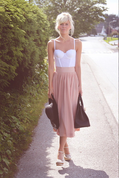 light pink GINA TRICOT skirt - dark brown Hermes bag - H&amp;M top