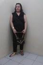 Black-ripped-local-store-jeans-black-sling-bag-ysl-bag