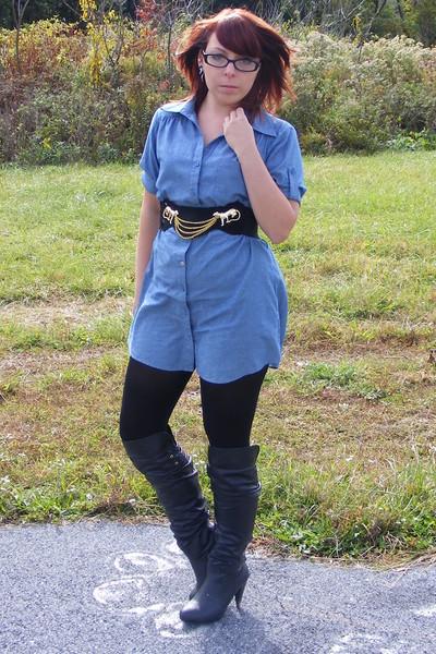 Forever 21 dress - Urban Outfitters belt - Express leggings - Pink Duchess boots