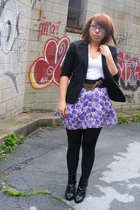 Wet Seal skirt - Wet Seal t-shirt - thrifted blazer - Urban Outfitters belt - Ex