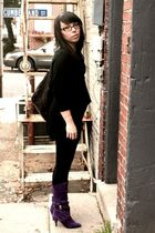 purple vintage boots - black Converse for Target - black Necessary Objects dress