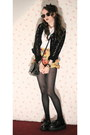 Black-black-and-gold-romwe-sunglasses-mustard-floral-2nd-hand-shorts