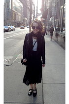 round Ebay sunglasses - black pleats OASAP skirt - witchy Shoes flats