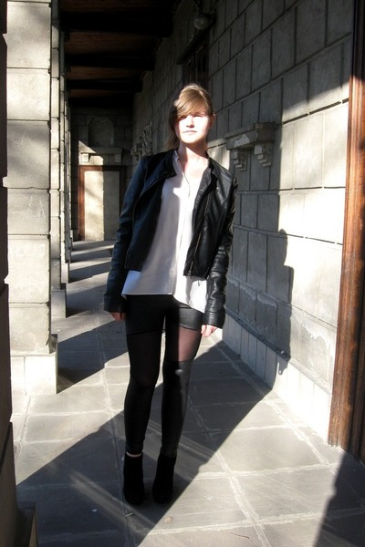 Oasapcom leggings - no name jacket - Bershka shirt - no name wedges