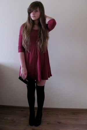magenta H&amp;M dress - black grandmas wardrobe bag - black no name socks