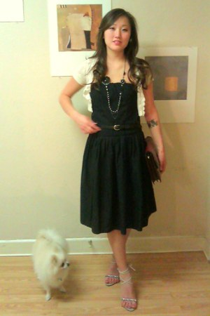 black unknown dress - ivory crochet Charlotte Russe cardigan