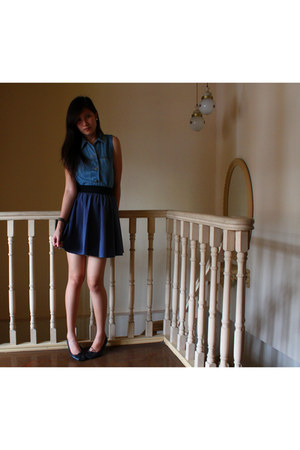blue denim vingtage vest - violet high-waisted sm dept store skirt - black shoeb