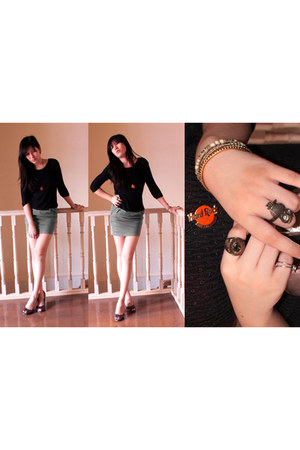 black knitted vintage sweater - heather gray high-waisted Greenhills skirt - bro