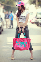 heather gray jeans - hot pink cap hat - white shirt - hot pink big size bag - li
