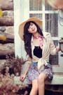 Eggshell-hole-blouse-eggshell-hat-scarf-floral-skirt-black-top